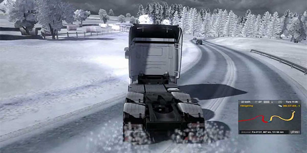 Euro Truck Simulator 2 snow driving