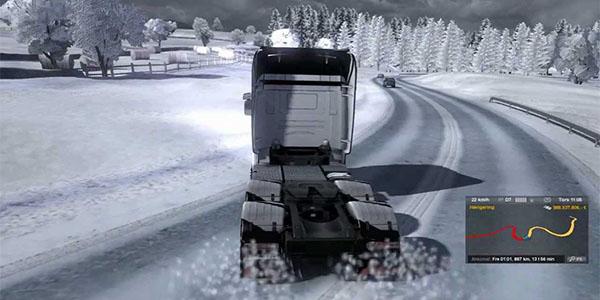 Euro Truck Simulator 2 snow driving