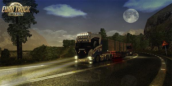 Euro Truck Simulator 2 night gameplay