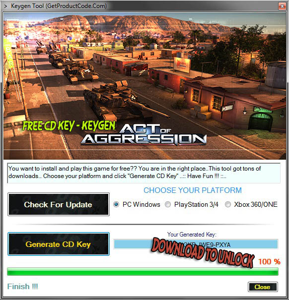Act of Aggression free cd key generator (free steam code)