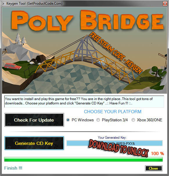 Free Poly Bridge Steam Code Generator