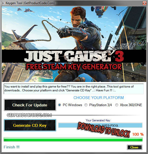 Download Just Cause 3 free steam key generator