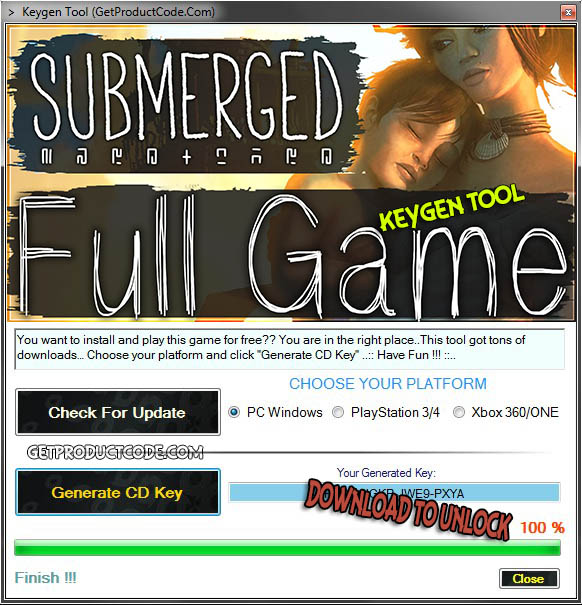 Submerged cd key generator tool