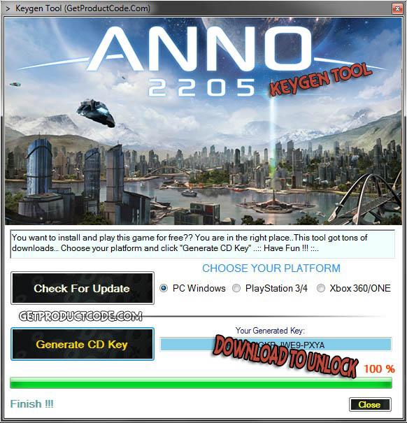 Bekommen Anno 2205 CD key Generator und den Product Key einlösen