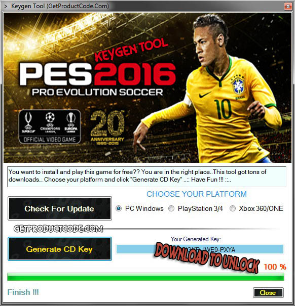 PES 2016 free cd key giveaway tool 2015