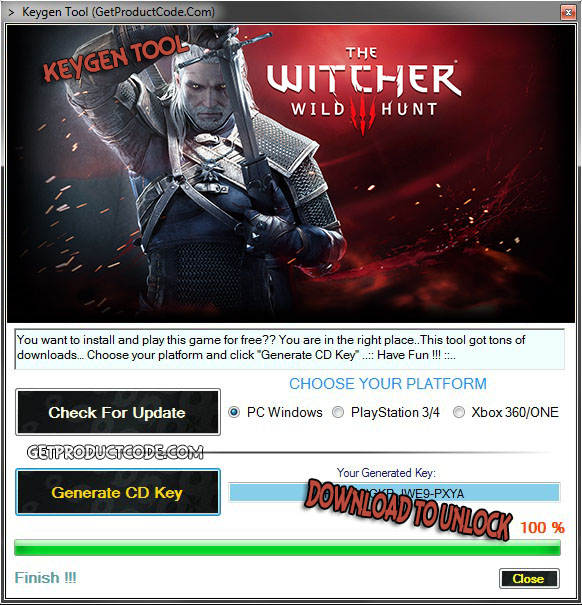 Use The Witcher 3 Wild Hunt CD Key Generator and generate your own free cd key