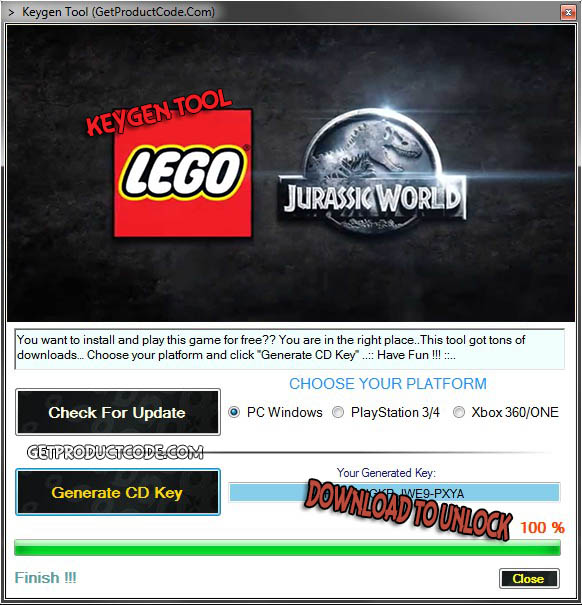 lego jurassic world activation key