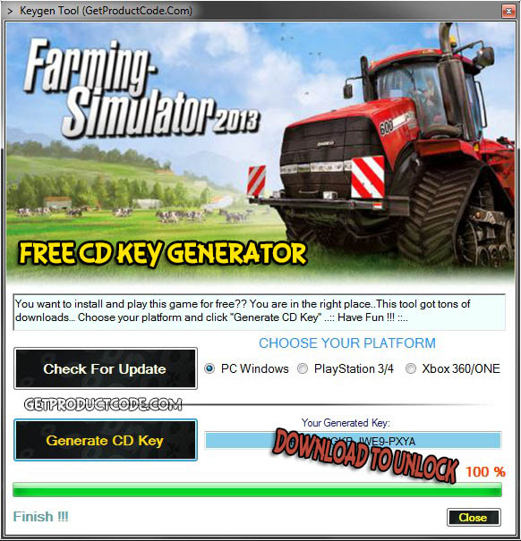 Farming Simulator 2013 cd cadeau clé 2016