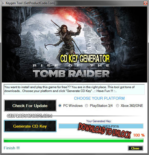 Rise of the Tomb Raider cd key giveaway