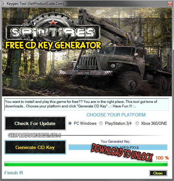 SPINTIRES free cd key giveaway