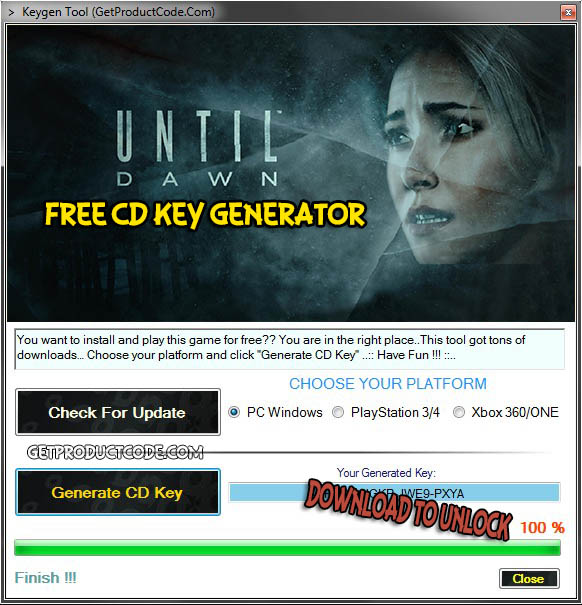 Until Dawn gratis productcode Giveaway