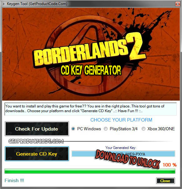 Borderlands 2 CD avain kylkiäinen